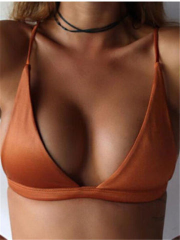 PMS Bikinis Orange / s Sexy Bikini Solid Color Swimsuit