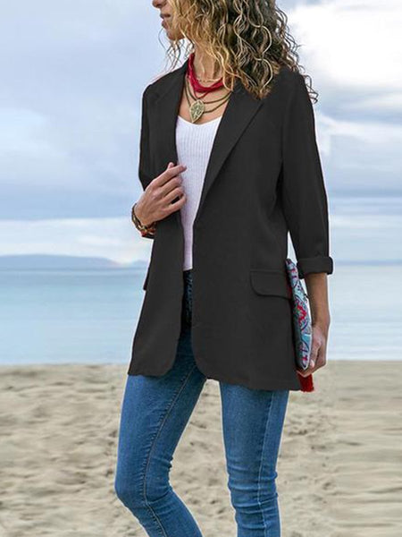 PMS Blazers Black / s Fashion Lapel Long Sleeve Pocket Blazer