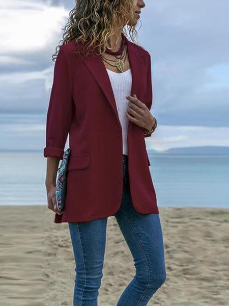 PMS Blazers Claret / 2xl Fashion Lapel Long Sleeve Pocket Blazer