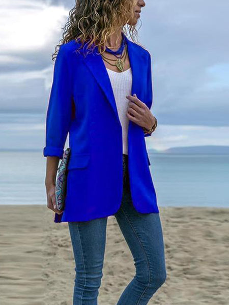 PMS Blazers Dark Blues / s Fashion Lapel Long Sleeve Pocket Blazer