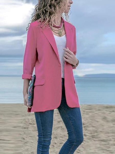PMS Blazers Pink / 2xl Fashion Lapel Long Sleeve Pocket Blazer