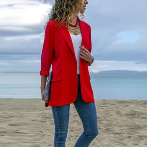 PMS Blazers Red / s Fashion Lapel Long Sleeve Pocket Blazer