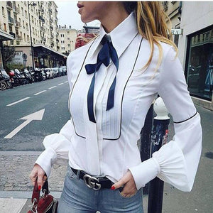 PMS Blouse White / s Fashion Lace-Up Pure   Colour Bishop Sleeve Blouse