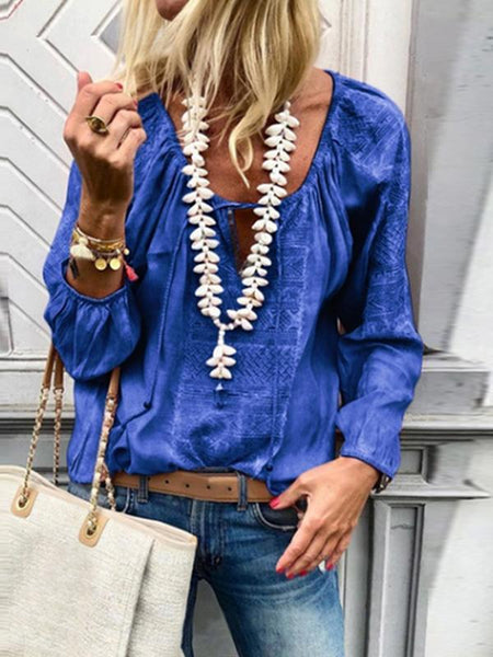 PMS Blouses Blue / s Lace Up Fashion V Neck  Long Sleeve Blouses