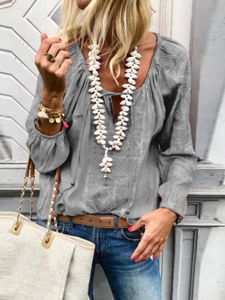 PMS Blouses Gray / s Lace Up Fashion V Neck  Long Sleeve Blouses