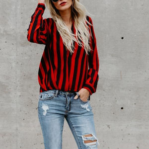 PMS Blouses Red / s Deep V Neck  Striped  Blouses