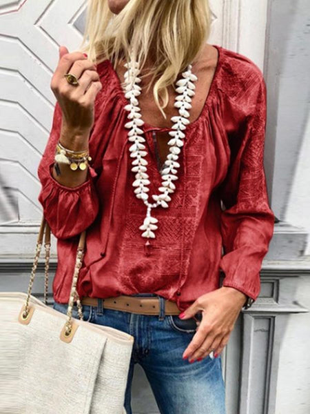 PMS Blouses Red / s Lace Up Fashion V Neck  Long Sleeve Blouses