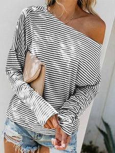 PMS Blouses Stripe / s Sexy Stripes Loose Tops Blouses