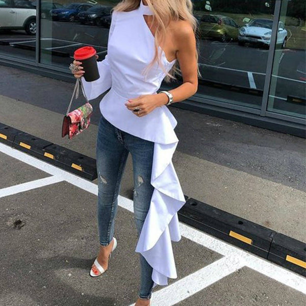 PMS Blouses White / s Off-The-Shoulder Asymmetric Blouse
