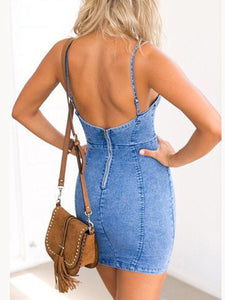 PMS Bodycon Dress blue / s Sexy Straps Casual Denim Bodycon Dress