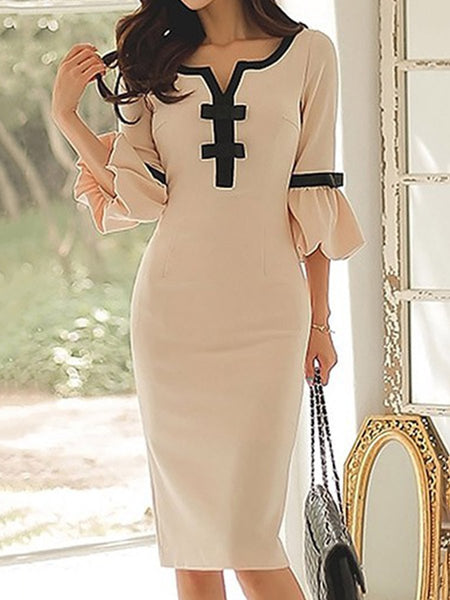 PMS Bodycon Dress champagne / s Sweet Heart  Plain  Blend Bodycon Dress