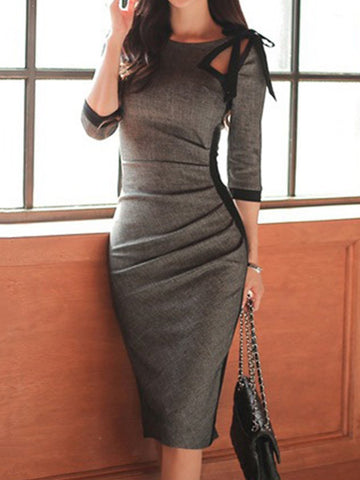 PMS Bodycon Dress dark_grey / 3xl Tie Collar  Plain Bodycon Dress