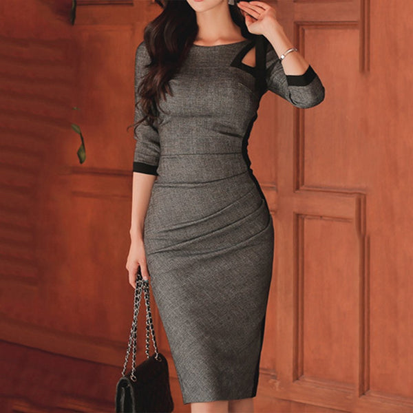 PMS Bodycon Dress dark_grey / s Tie Collar  Plain Bodycon Dress