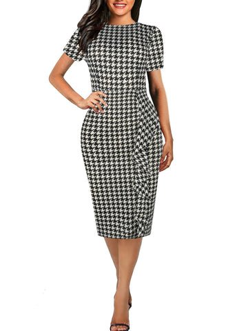 PMS Bodycon Dress white_black / s Crew Neck  Plaid Bodycon Dress