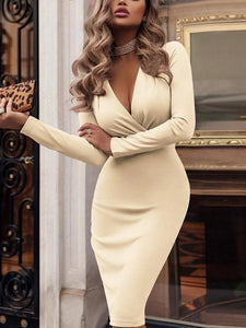 PMS Bodycon Dresses Beige / s Fashionable Deep V Neck Long Sleeve Bodycon Dresses