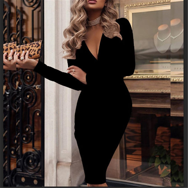PMS Bodycon Dresses Black / s Fashionable Deep V Neck Long Sleeve Bodycon Dresses