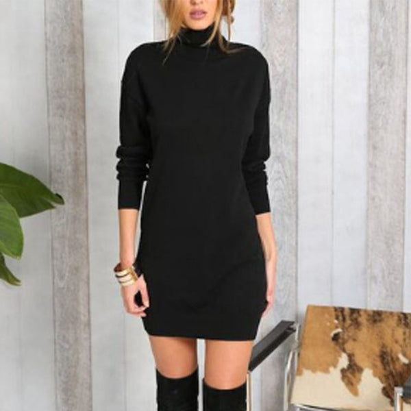 PMS Bodycon Dresses black / s High Neck  Plain Bodycon Dresses