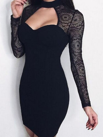 PMS Bodycon Dresses black / s Sweet Heart  Long Sleeve Bodycon Dresses
