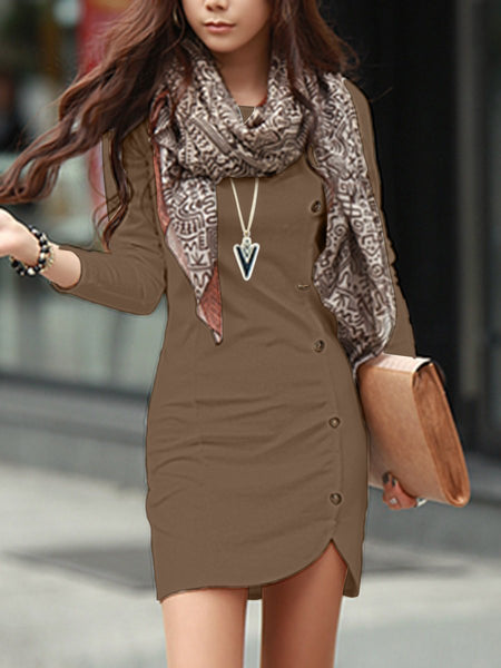 PMS Bodycon Dresses camel / m Round Neck Plain Decorative Button Bodycon Dress