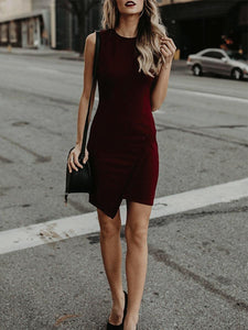 PMS Bodycon Dresses claret_red / m Crew Neck  Asymmetric Hem  Plain Bodycon Dresses
