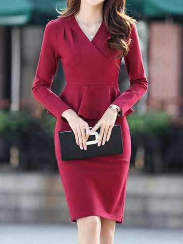 PMS Bodycon Dresses crimson / s Surplice  Plain Bodycon Dress