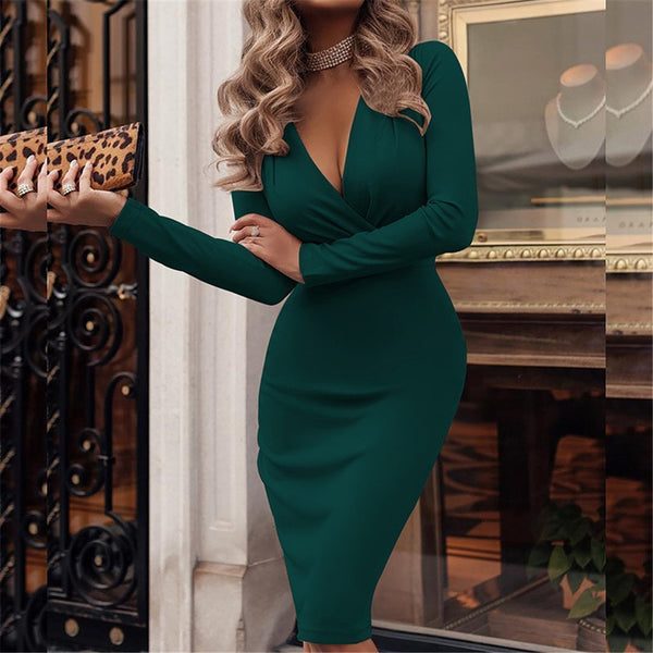 PMS Bodycon Dresses Dark Green / s Fashionable Deep V Neck Long Sleeve Bodycon Dresses