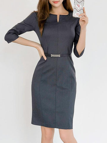 PMS Bodycon Dresses Dark Grey / s Sweet Heart  Plain Bodycon Dress