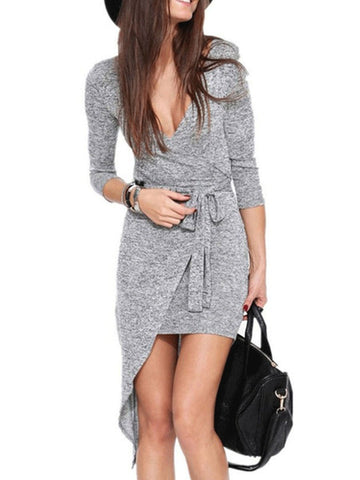 PMS Bodycon Dresses gray / s Deep V Neck  Asymmetric Hem  Belt Loops  Plain Bodycon Dresses