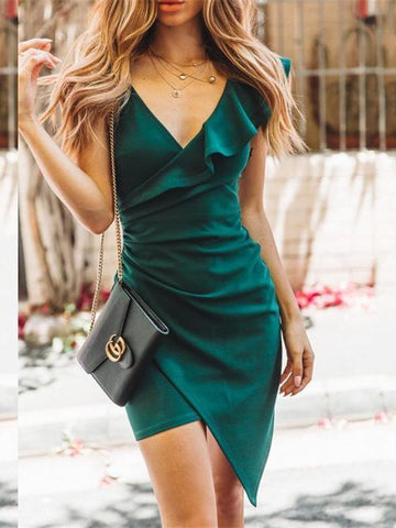 PMS Bodycon Dresses Green / s Sexy Deep V-Neck Single Shoulder Falbala Irregularity Tight Dress
