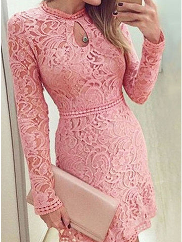 PMS Bodycon Dresses pink / s Round Neck  Ruffle Trim  Hollow Out Bodycon Dresses
