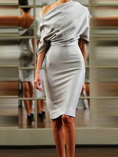PMS Bodycon Dresses Silver / s Sexy Off Shoulder Backless Bodycon Dress