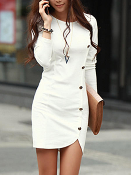 PMS Bodycon Dresses white / m Round Neck Plain Decorative Button Bodycon Dress