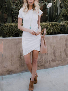 PMS Bodycon Dresses White / xs Crew Neck Asymmetric Hem Short Sleeve Bodycon Dresses