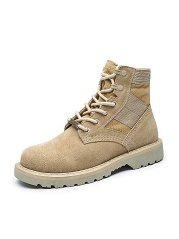 PMS Boots Beige / 35 Army  leather women's  desert boots high help tool shoes Martin s outdoor couple military shoes