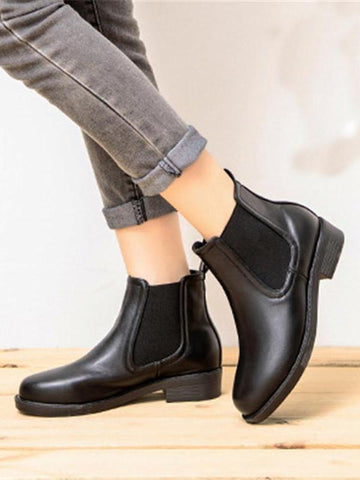 PMS Boots Black / 35 Autumn And Winter New Chelsea Boots Round Head Thick With Elastic Band Women's  Boots