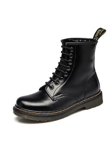 PMS Boots Black / 35 Autumn winter  flat low-heeled British Martin couple leather short motorcycle boots