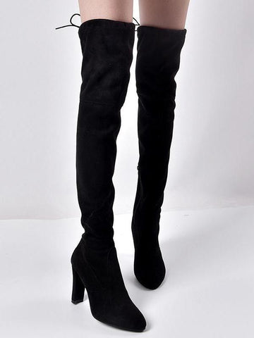 PMS Boots Black / 35 Pointed Thick with Side Zipper Over the Knee Elastic Female Boots