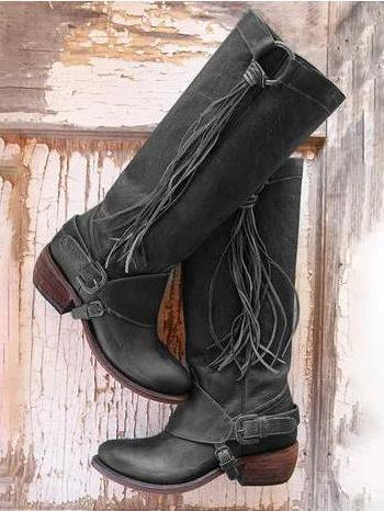 PMS Boots Black / 35 Winter new comfort square boots with low heel high Women's Boots