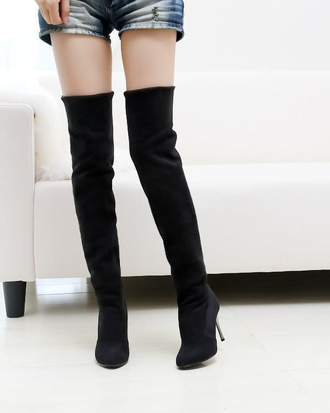 PMS Boots Black / us5 Fashion Pure Color Suede High Cylinder High Heeled Over The Knee  Boots