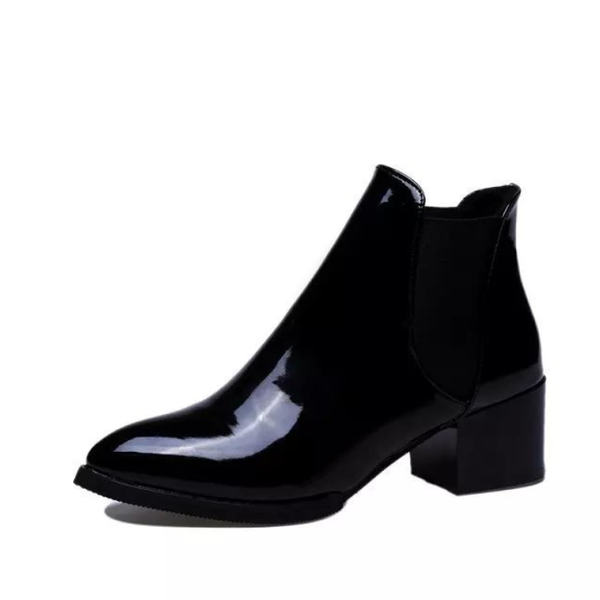 PMS Boots Black / us5 High-Heeled Sharp Head Coarse Heel Leather Boots
