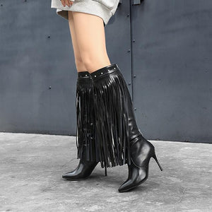 PMS Boots Black / us5 Sexy High Heel And Pointed Tassel Boots