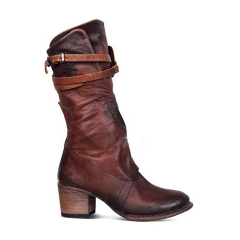 b8c01b664a20 New leather boots women's thick with high-heeled Knight boots belt buckle  high boots