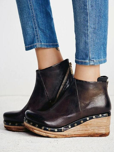 PMS Boots Brown / us5 Fashion Leather Slope Heel Boots