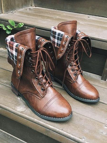 PMS Boots Brown / us5 Retro Band Round Head Martin Boots