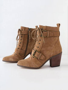 PMS Boots Camel / 34 European and American coarse belt boots