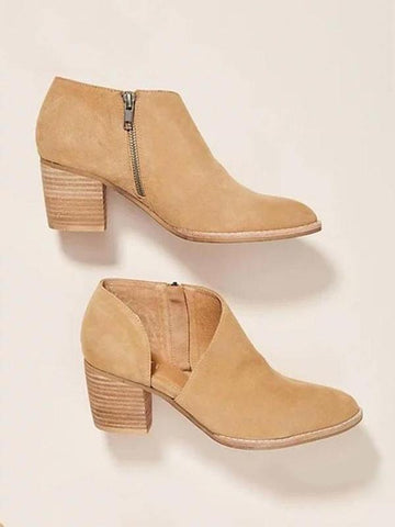 PMS Boots Camel / us5 Plain  High Heeled  Velvet  Round Toe  Casual Outdoor  Ankle Ankle Boots