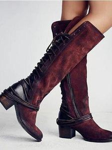 PMS Boots Claret Red / us5 Fashion Thick High Heeled Straps With High Boots