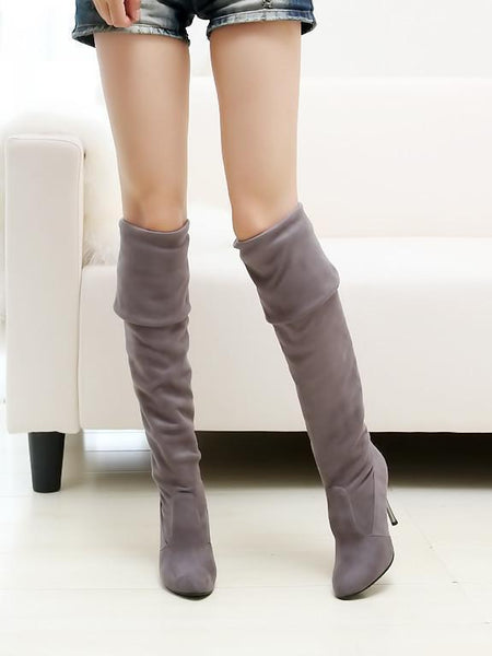PMS Boots Gray / us5 Fashion Pure Color Suede High Cylinder High Heeled Over The Knee  Boots