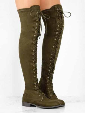 PMS Boots Green / us5 Pure Color Round Head Square Heels Over The Knee Boots
