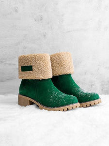 PMS Boots Green / us5 Women Warm Square Heels Multicolor Snow Boots